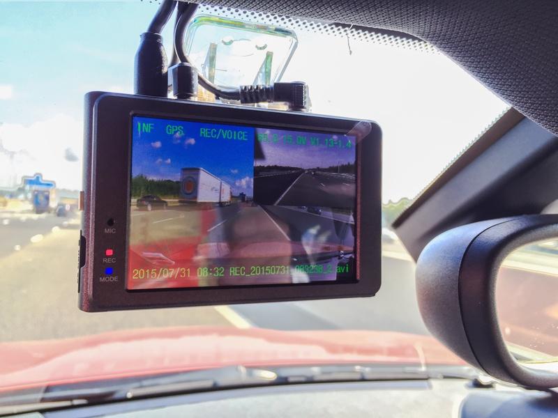 Dashcam in a car windscreen